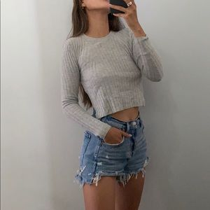 BABATON | ribbed cropped sweater